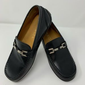 Geox Respira Size 37 Black Leather Driving Loafer